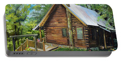 Portable Battery Charger featuring the painting Joe's Cabin And Red Canoe - Ellijay - North Ga Mtns by Jan Dappen