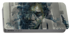 Portable Battery Charger featuring the mixed media John Coltrane  by Paul Lovering