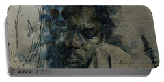 Portable Battery Charger featuring the mixed media John Coltrane / Retro by Paul Lovering