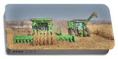 John Deere Combine Picking Corn Followed By Tractor And Grain Cart Portable Battery Charger