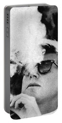 John F Kennedy Cigar And Sunglasses Black And White Portable Battery Charger