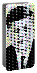 John F Kennedy In Dots Portable Battery Charger