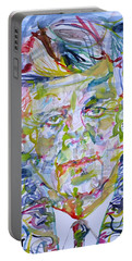 Portable Battery Charger featuring the painting John F. Kennedy - Watercolor Portrait.2 by Fabrizio Cassetta