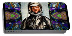 John Glenn Tribute Portrait Portable Battery Charger by Wbk