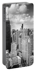 John Hancock Building In The Gold Coast Black And White Portable Battery Charger