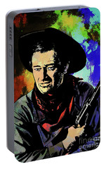 Portable Battery Charger featuring the painting John Wayne, by Andrzej Szczerski