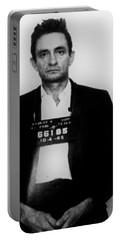 Johnny Cash Mug Shot Vertical Portable Battery Charger by Tony Rubino
