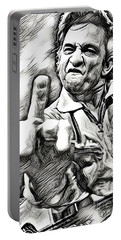 Johnny Cash Says Hello - Abstract Bw Portable Battery Charger