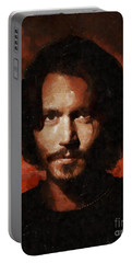 Johnny Depp, Hollywood Legend By Mary Bassett Portable Battery Charger by Mary Bassett