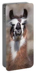 Portable Battery Charger featuring the photograph Jolly Llama by Robin-Lee Vieira