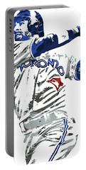 Portable Battery Charger featuring the mixed media Jose Bautista Toronto Blue Jays Pixel Art 2 by Joe Hamilton