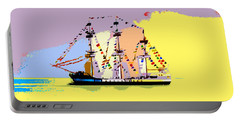 Portable Battery Charger featuring the painting Jose Gasparilla Sailing Colorful Tampa Bay by David Lee Thompson