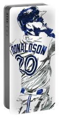 Portable Battery Charger featuring the mixed media Josh Donaldson Toronto Blue Jays Pixel Art by Joe Hamilton