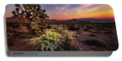 Joshua Tree And Cactus At Sunset Portable Battery Charger