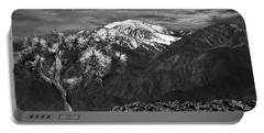 Portable Battery Charger featuring the photograph Joshua Tree At Keys View In Black And White by Randall Nyhof