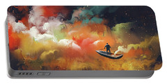 Portable Battery Charger featuring the painting Journey To Outer Space by Tithi Luadthong