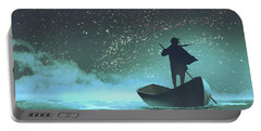 Portable Battery Charger featuring the painting Journey To The New World by Tithi Luadthong