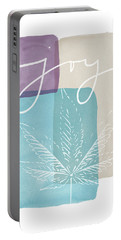 Joy Cannabis Leaf Watercolor- Art By Linda Woods Portable Battery Charger by Linda Woods