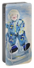 Portable Battery Charger featuring the painting Joy Ride by Maria Langgle