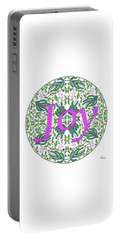 Portable Battery Charger featuring the digital art Joy With Purple Flowers by Lise Winne