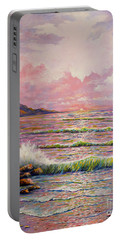 Portable Battery Charger featuring the painting Joyces Seascape by Lou Ann Bagnall