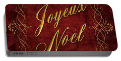 Joyeux Noel In Red And Gold Portable Battery Charger by Caitlyn  Grasso