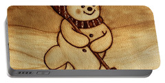 Portable Battery Charger featuring the painting Joyful Snowman  Coffee Paintings by Georgeta  Blanaru