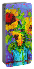 Portable Battery Charger featuring the painting Joyful Trio - Sunflowers Still Life - Modern Impressionistic Art - Palette Knife by Patricia Awapara