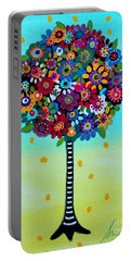 Portable Battery Charger featuring the painting Jubilant Tree Of Life by Pristine Cartera Turkus