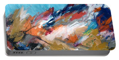 Portable Battery Charger featuring the painting Judean Hill Abstract by Esther Newman-Cohen
