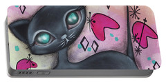 Judy Cat Portable Battery Charger by Abril Andrade Griffith