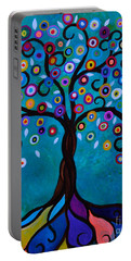 Portable Battery Charger featuring the painting Juju's Tree by Pristine Cartera Turkus