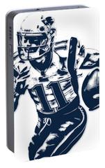 Julian Edelman New England Patriots Pixel Art 2 Portable Battery Charger by Joe Hamilton