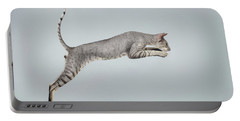 Jumping Peterbald Sphynx Cat On White Portable Battery Charger