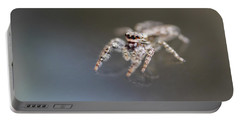 Jumping Spider On Glass Table Portable Battery Charger