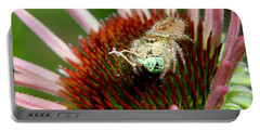 Jumping Spider With Green Weevil Snack Portable Battery Charger