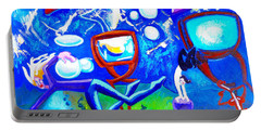 Portable Battery Charger featuring the painting Jumping Through Tv Land by Genevieve Esson