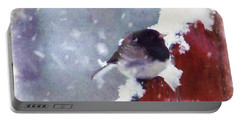 Portable Battery Charger featuring the digital art Junco In The Snow, Square by Christina Lihani