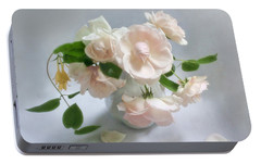 Portable Battery Charger featuring the photograph June Roses With Honeysuckle by Louise Kumpf