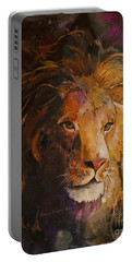 Jungle Lion Portable Battery Charger by Sherry Shipley