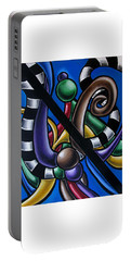 Colorful 3d Abstract Art Painting - Multicolored Original Artwork - Black And White Stripes Portable Battery Charger