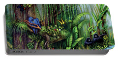 Portable Battery Charger featuring the painting Jungle Talk by Lynn Buettner