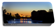 Jupiter And Venus Over The Willamette River In Eugene Oregon Portable Battery Charger
