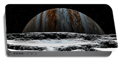 Portable Battery Charger featuring the digital art Jupiter Rise At Europa by David Robinson