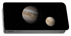 Portable Battery Charger featuring the digital art Jupiter With Io And Europa by David Robinson
