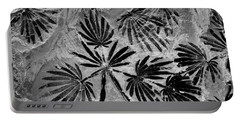 Jurassic Fossil Fern In Coal. Shanxi, China.    Black And White Portable Battery Charger