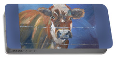 Portable Battery Charger featuring the painting Just A Big Happy Cow On A Little Square Canvas by Jan Dappen