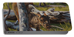 Portable Battery Charger featuring the painting Just A Peek by Erin Fickert-Rowland