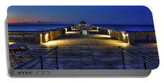 Portable Battery Charger featuring the photograph Just Before Dawn Folly Beach Pier Charleston Sc Sunrise Art by Reid Callaway