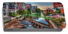 Just Before Sunset 2 Reedy River Falls Park Greenville South Carolina Art Portable Battery Charger